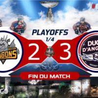 PLAYOFFS [1/4 – match 2] : Les Ducs égalisent à Rouen (2-3) !